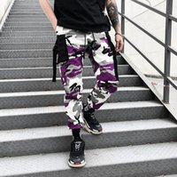 kamuflaj fitness pantolon toptan satış-Moda Çizgili Kargo Pantolon Erkek Kamuflaj Pantolon Spor Erkekler Ins İpli Pantolon Kalça Pop Giyim