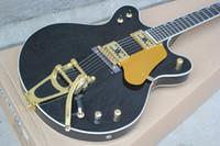 e-gitarre schwarzer tremolo großhandel-Freie ShippingFactory kundenspezifische schwarze E-Gitarre mit Tremolo-System, Goldhardware, weiße Bindung, Goldschlagbrett, Angebot besonders angefertigt