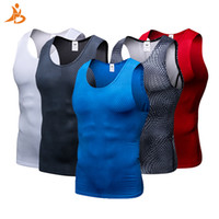 Wholesale tight gym shirts men for sale - Group buy New Compression Fitness Tights Tank Top Quickly Dry Sleeveless Gym Clothing Summer Workout Running Vest Sports Shirt Men Q190521