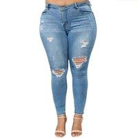 jeans élastiques pour taille plus achat en gros de-Plus la taille déchiré femmes jeans taille haute tour de taille maigre crayon pantalon en jean dames casual stretch stretch taille élastique circumfere