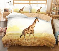 Wholesale zebra queen bedding set online - 3D Animal Bedding Set Bedclothes Duvet Cover D Giraffe Elephant Turtle Swan Lion Horse Wolf Zebra Polar Bear Animal
