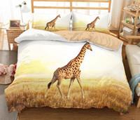 ingrosso letti a cavallo-Set biancheria da letto 3D Set 3 pezzi Copripiumino 3D Giraffa Elefante Tartaruga Cigno Leone Cavallo Lupo Zebra Orso polare Animale