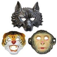 tiger tiere maske großhandel-Tiermaske Affe Tiger Wolf Facepiece Halloween Kostüm Ball Bar Leistung Dekorieren Liefert Widerstandsfähigkeit Ist Gut Langlebig Weiche