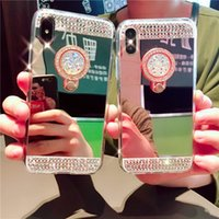 Wholesale rhinestone mirror for phones online – X XSMAX XR plus Cell Phone Cases Rhinestone Mirror with Ring Mobile Protect Cover Fashion Rose Gold Sliver Cellphone Shell