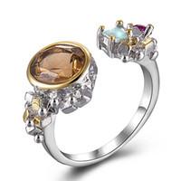 ingrosso anello dei monili del caffè-Fashion Coffee Zircon ring anel female Silver color jewellery alta qualità Flower ring trendy Gioielli regali per le donne