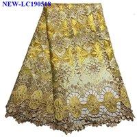 vestidos de casamento amarelo à venda venda por atacado-Venda quente Amarelo bordado Africano Tecido de Renda de Tule Francês de Alta Qualidade Tecido de Renda Líquida Com Pedras Para O Vestido de Noiva XHY001