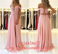 Wholesale off shoulder pink bridesmaid dresses for sale - Group buy Cheap Pink Pleats Chiffon Long Prom Dresses Off the Shoulder Formal Evening Dress Lace up Back Side Slit Bridesmaid Pageant Party Gowns
