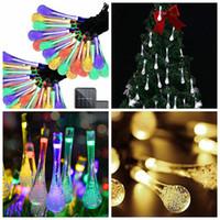güneş enerjisi yılbaşı ağacı ışıkları toptan satış-2 Modları Noel Dize Fenerler Su Damlası Şekli Kullanımlık Güneş Enerjisi LED 20 ışıkları Noel ağacı Işık Parti Dekoratif Lambalar 5 m FFA2700