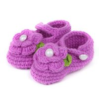 ingrosso scarpe casual-Cute Baby Shoes Baby Girl Crib Crochet Casual Girls Handmade Knit Sock Infant Rose Shoes viola