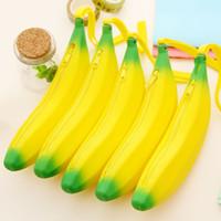 monederos amarillos al por mayor-25 UNIDS / LOTE Moda de Las Mujeres Portátil de Silicona Monedero Amarillo Banana Moneda Bolsa Cremallera Carteras de Silicona Funda Clave