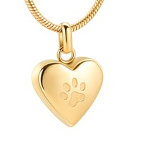 Wholesale stainless steel necklace for two for sale - Group buy ZZL0010 Two Paw In My Heart Stainless Steel Pet Souvenir Jewelry Cremation Urn Pendant Necklace for Ashes