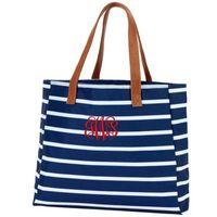 Wholesale navy printed handbags resale online - 30pcs DHL New Customed Women Female Canvas Stripes Printing Zipper Beach Shoulder Bag Colors Large Capacity Handbag Outdoor