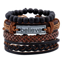 Wholesale jewelry believe resale online - 2019 Bohemia Holiday Believe Beaded Bracelets Women Men Jewelry Multilayer Leather Rope Adjustable Length Cuff Charm Bangles Pulseras Hombre