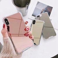 étuis iphone doux doux achat en gros de-Cas de téléphone miroir pour iphone 7 8 6 s 6 plus X XR XS Max mignon couvercle anti-choc TPU pour
