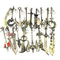 anahtar zincir çinko alaşımı toptan satış-Yeni LOL Efsaneler Çinko Alaşım Anahtarlık Şampiyonlar Silah Kılıç Lig Nefis Anime Aksesuarlar Anahtarlık Zinciri 32 renk gelmesi