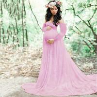uzun hazır elbiseler toptan satış-Annelik Dantel + Pamuk Elbise Fotoğraf Sahne Uzun Kollu Moda Kadın Kıyafeti Elbiseler Firar Tarzı Bebek Duş Elbise Artı Boyutu