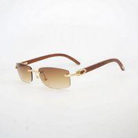 роговые линзы оптовых-Natural Black White Buffalo Horn Small Lens Sunglasses Men Wood Eyeglasses Rimless Gafas for Driving Club Oculos Shades 012S