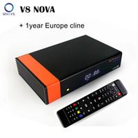 dvb s2 alıcıları toptan satış-V8 Nova DVB-S2 HD 1080p uydu alıcısı H.265 IPTV, Güç Vu, DLNA, 1 yıl Avrupa cline ile IP için SAT destekler
