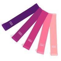 equipo de gimnasia rosa al por mayor-5 piezas de entrenamiento deportivo elástico Squat Gym Pink Gradient Single Fitness Equipment Women Resistance Bands Home Latex Indoor Outdoor