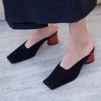 saliendo con zapatos de cuero al por mayor-PXELENA 2019 Brand New Women Mules Shoes Cuero genuino Kid Suede Square Toe Round Thick High Heel Slippers Summer Fecha exterior