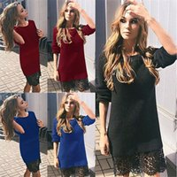 ingrosso riparazioni del vestito-Autumn Lace Splicing Repair The Body Dress 0199 #