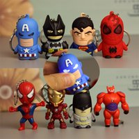 Wholesale spider keychain online - Flashing Light Keychain CM Style The Avengers Spider Man Captain America PVC Have Led Keychain Action Figure For Child Party Gifts