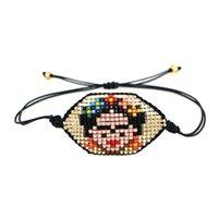 ingrosso fascini d'oro messicani-Più nuove donne messicane modo del braccialetto fascino cute faccia nero bracciali corda oro MIYUKI perline all'ingrosso regalo di natale braclets