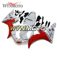 yamaha r6 cuerpo completo al por mayor-Completa nueva carrocería para Yamaha YZF-600 R6 Año 2003 2004 Kit completo de cubierta de plástico Paneles Cubiertas R6 03 04 Marco de cuerpo blanco rojo