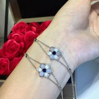 Wholesale gril flower resale online - Fashion Natural gem stone Bracelet Romantic crystal rhinestones flower Bangle for Women gril pure Sterling silver wedding party jewelry