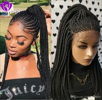 Wholesale braided frontal wig resale online - New black brown blonde ombre color cornrow full Braid Wig Lace Frontal Wig medium box braided wig for black women