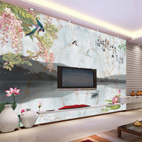 Wholesale vintage bird painting for sale - Group buy Chinese concise style non woven seamless marbleize wallpaper literary birds and flower painting mural home decor TV wall backdrop
