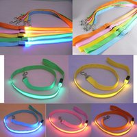 Wholesale red pet rope dog collar resale online - 5styles Pet Dog Collar Luminous Dogs leash Luminous Led Flashing Light Harness Safety Leash Rope pet supplies for small dog puppy FFA2523