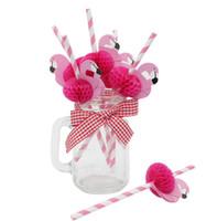 banderas de cumpleaños envío gratis al por mayor-Envío gratis novedad creativa decoración del partido flamingo pajitas de papel banderas de la torta para cumpleaños boda suministros decorativos para fiestas