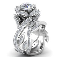 Wholesale valentine ring rose online - Colors Flower Rose Zircon Ring Diamond Crystal Ring Rhinestone Flower Wrap Ring Sets Women Fashion Jewelry Valentine Gift Drop Ship