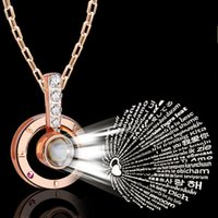 Wholesale couple chains pendants for sale - Group buy Rose Gold Necklace Necklace Languages I Love You Projection Ring Pendant Glass Chip Couple Rings Chain nyE1