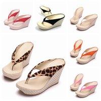 ingrosso scarpe da stampa rosa di leopardo-rystal Queen Fashion Summer Style Donna Sandali Tacchi alti Infradito Sandali con zeppa da spiaggia Zeppa con zeppa