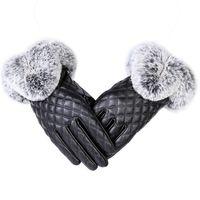 guantes de piel de conejo negro al por mayor-Moda mujer caliente grueso invierno guante de cuero elegante niñas marca mitones de piel de conejo guantes de las mujeres