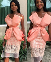 Wholesale orange long pleated dress resale online - 2019 Aso Ebi short Prom Dresses Nigeria sweetheart Lace big bow Saudi ruched African Fashion Party Celebrity Evening Dresses custom made