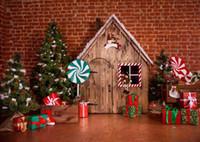 fotografía navidad telones digitales al por mayor-SHANNY Vinilo Impreso Digital Telones de Navidad para Fotografía Tema de la pared de Ladrillo Horizontal Foto Estudio Fondo SZ-76