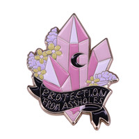 Wholesale lapels pins resale online - Protection from assholes crystal cluster lapel pin witch moon badge pastel flower decor
