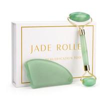 массаж лица камнями оптовых-Rose Quartz Roller Slimming Face Massager Lifting Tool Natural Jade Facial Massage Roller Stone Skin Massage Beauty Care Set Box