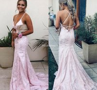 Wholesale open sexy pictures resale online - Arabric Pink Lace Mermaid Evening Dresses Deep V Neck Open Back Sweep Train Hot Prom Dresses Sexy Vestidos De Fiesta Formal Party Gowns