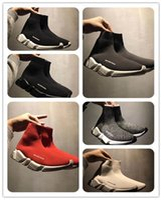 ingrosso stivali yoga-Scarpe da ginnasticaBalenciaga Designer Sneakers Speed Trainer Nero Rosso Gypsophila Triple Black Fashion Flat Sock Boots Scarpe casual