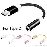 auriculares mm al por mayor-Tipo-C a 3,5 mm Jack Convertidor de auriculares Adaptador de audio Cable Tipo USB C a 3,5 mm Cable auxiliar de auriculares para Huawei P20 Lite Mate 20