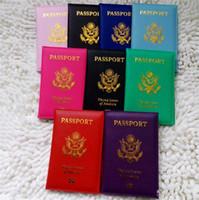 niedliche brieftaschenkoffer großhandel-Reise-nette USA-Pass-Abdeckungs-Frauen-Rosa USA-Pass-Halter-Amerikaner 9 färbt Abdeckungen für Pass-Mädchen-Fall-Pass-Geldbörse
