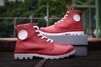 botas medianas de paladio al por mayor-PALLADIUM Mujer 2019 Soldados Medianos Zapatillas Botas Botines de Cuero Primavera Otoño Punta Cuadrada Zapatos con cordones Calzado Femenino