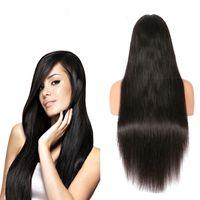 12 inç düz dantel ön peruk toptan satış-150% Yoğunluk kadınlar için düz Uzun Dantel Ön Peruk İnsan Saç Dantel Frontal peruk Malezya Virgin İnsan Saç Peruk Ücretsiz Kargo 10-24 inç