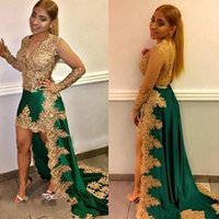 vestidos de noite de ouro verde de comprimento venda por atacado-Árabe apliques de ouro Vestidos frisados High Green Vestidos Low Prom Sheer Africano manga comprida Sul Partido Vestido
