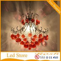 luminárias de cristal vermelho venda por atacado-New Luxury lustre de cristal iluminação de iluminação interior Chrome E14 luminárias AC220V Red cristal lâmpada Restaurante Hotel KTV