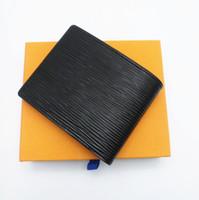 zikzak kutusu toptan satış-Paris Ekose Tarzı Erkek Tasarımcı Cüzdan Ünlü Erkekler Lüks Onay Stripes Dokulu Cüzdan Kutusu Ile Birden Bifold Kısa Küçük Cüzdan